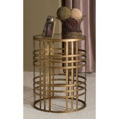 InnerSpace Barrel Accent Table with Weave - Antique Gold