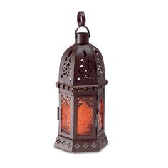 Amber Glass Moroccan Candle lantern