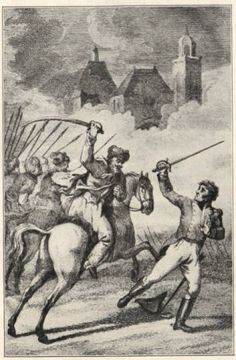 """The City of Deventer run over by the cossacks, and the captain of engineers wounded, on the 12th of November 1813."" Artist: A. Vinkeles, based on a drawing by J.W. Pieneman. http://www.napoleon-series.org"