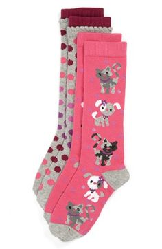 Nordstrom 'Polka Pet' Knee High Socks (2-Pack) (Toddler Girls & Little Girls) | Nordstrom