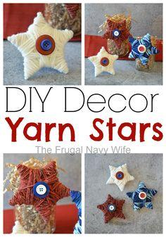 DIY Decor Yarn Stars - The Frugal Navy Wife