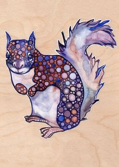 Squirrel 5x7 print of watercolor painting by DeepColouredWater