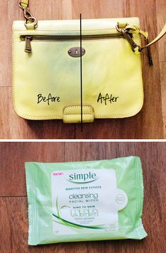 Remove jeans stain from purses with facial wipes.