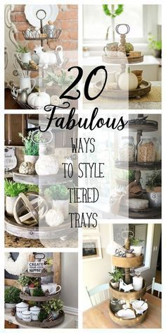 20 fabulous ways to style tiered trays country farmhouse decor, primitive kitchen, bookcase,