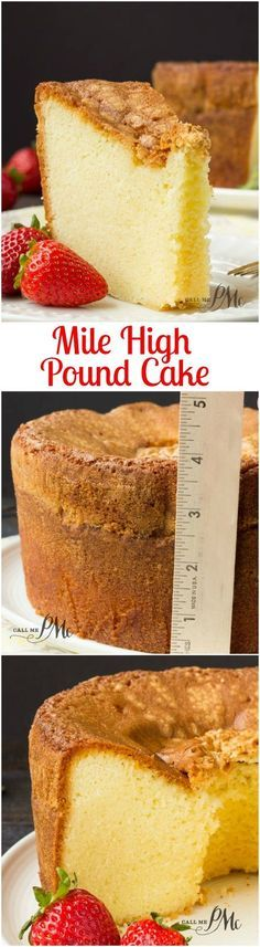 Mile High Pound Cake recipe is dense, moist and over-the-top. - Food RecipesMile High Pound Cake recipe is dense, moist and over-the-top good! It has a crusty outside and top with a buttery soft, small crumb inside. Just Desserts, Delicious Desserts, Dessert Recipes, Bon Dessert, Pound Cake Recipes, Pound Cakes, 5 Flavor Pound Cake, Vanilla Pound Cake Recipe, Cake Flavors