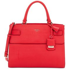 Guess Cate Satchel ($118) ❤ liked on Polyvore featuring bags, handbags, lipstick, pocket purse, red bag, red purse, red satchel and satchel bag
