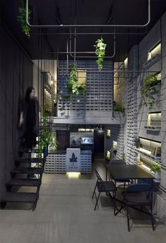 A Monochrome Interiors With Intrinsic Play Of Cement Blocks At Ivy Cafe | Neda Mirani - The Architects Diary Amazing Architecture, Contemporary Architecture, Monochrome Interior, Interior Design, Ivy Cafe, Metal Beam, Concrete Interiors, Modern Cafe, Concrete Blocks
