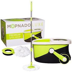 Mopnado Stainless Steel Deluxe Rolling Spin Mop with 2 Microfiber Mop Heads - L