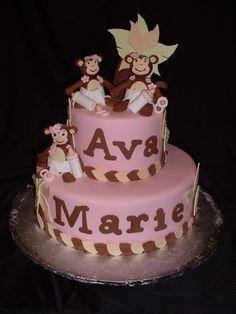 Baby girl monkey baby shower cake