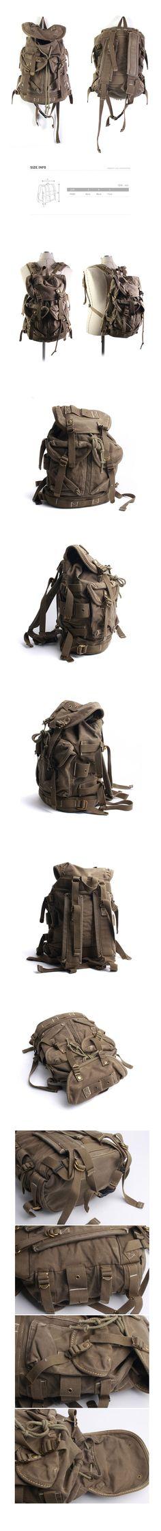 Vintage Canvas Outdoor Military Rucksack Backpack Travel Bag