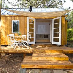 One of the most architecturally beautiful tiny house designs comes from Sol Haus Design. The Sol Haus Tiny House Plans combine Japanese and Scandinavian aesthetics. Tiny House Swoon, Tiny House Living, Tiny House Plans, Tiny House On Wheels, Tiny House Design, Big Design, Living Room, Living Area, Tiny House Movement
