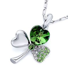 Pugster: August Birthstone Peridot Made Pugster Crystal Lucky Clover Pendant Image. Three Leaf Clover, Irish Jewelry, Silver Jewelry, Diamond Are A Girls Best Friend, Artisan Jewelry, Stones And Crystals, Peridot, Swarovski Crystals, Jewelery