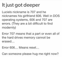 It just got deeper, 707, 606, girlfriend, DOS operating systems, errors, reset, text, fact, 707, Luciel, Saeyoung Choi; Mystic Messenger