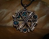 Celestial Sphere #15 Steampunk copper handmade pendant with blue beads by Calisto Breeze