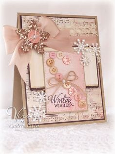 Pink Candy Cane Winter Card...with button candy cane & glittery star.