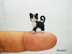 I COULD WEEP, this is SO beautiful!!!! Black White Tuxedo Cat Kitten - Tiny Cat Micro Amigurumi Crochet Miniature Pet Animals