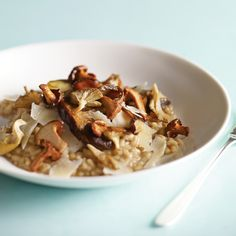 Mushroom Risotto The flavors of dried and fresh mushrooms carry through in this proper Italian risotto, made from plump Arborio rice, which absorbs plenty of mushroom stock until it's meltingly tender on the outside but still sturdy within.