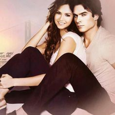 The Vampire Diaries - The Vampire Diaries - Nina Dobrev as Elena Gilbert & Ian Somerhalder as Damon Salvatore Serie The Vampire Diaries, Vampire Diaries Damon, Vampire Diaries The Originals, Damon Salvatore, Ian Somerhalder, Delena, Movies And Series, Cw Series, Katherine Pierce