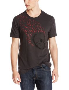 John Varvatos Men's Reverse Printed Flaming Skull Crew Neck Graphic Tee, Shadow, Small
