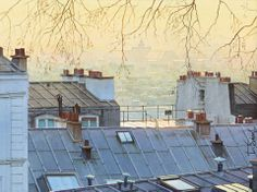 Thierry Duval was born in Paris, France. His watercolors are characterized by a strong light and precision in drawing, being almost or hyperrealist in the results mainly in his Paris watercolors. Andrew Wyeth, Watercolor Landscape, Watercolor Paintings, Watercolours, Michel Delacroix, Paris France, Midnight In Paris, Metro Paris, Paris Rooftops