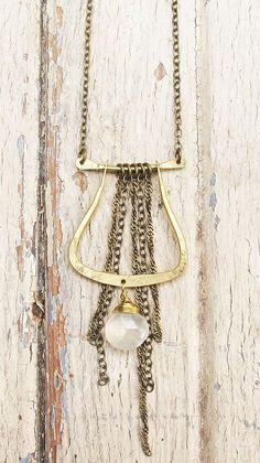 Brass Moonstone Necklace