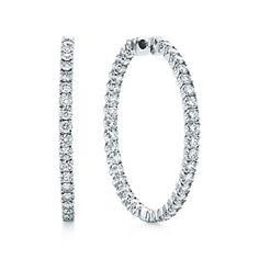 Tiffany Metro hinged hoop earrings in 18k white gold with diamonds, large.