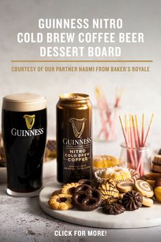 If you're looking for a great way to take your coffee and dessert game to new heights, look no further than our Guinness Nitro Cold Brew Coffee Beer dessert board! From chocolate covered pretzels, crème-filled wafers, sables, butter cookies and more, feel free to include a variety of chocolate, caramel and butter rich desserts that best compliment the taste and aroma of our Nitro Cold Brew Coffee Beer. Try it at home at your next gathering! Atkins, Wine Recipes, Cooking Recipes, Dessert Games, Gold Dessert, Nitro Cold Brew, Chocolate Covered Pretzels, Brewing, Food And Drink