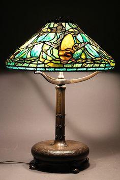 RARE TIFFANY STUDIOS 'FISH' TABLE LAMP.