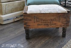 VIntage Crate DIY Footstool - - It's finally time for another Home Depot Monthly Gift Challenge! Each month we choose an item fr - Old Wooden Crates, Vintage Crates, Wooden Diy, Crate Bench, Crate Shelves, Furniture Legs, Painted Furniture, Furniture Depot, Crate Furniture