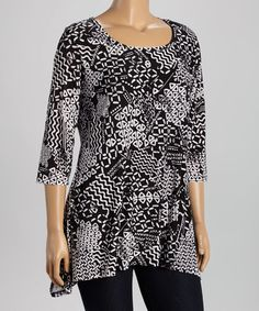 Love this Black & White Geometric Sidetail Tunic - Plus on #zulily! #zulilyfinds