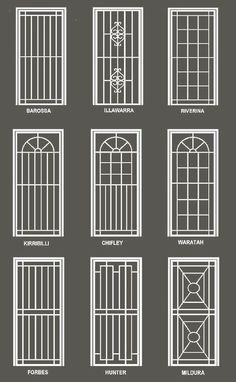 Our security doors and windows are custom made to suit your premises. We have a range of high strength steel security doors with optional fly screens. Home Window Grill Design, Iron Window Grill, Window Grill Design Modern, House Window Design, Grill Door Design, House Gate Design, Door Gate Design, Railing Design, Screen Design