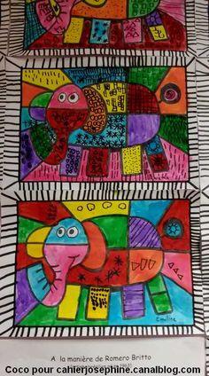 A la découverte de Romero Britto - Les cahiers de Joséphine Teaching Drawing, Teaching Art, Art Lessons For Kids, Art For Kids, Homemade Art, Ecole Art, Paul Klee, Drawing For Kids, Art Plastique