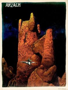 Robert Crumb Jean Giraud/Moebius Hayao Miyazaki All three artists contributed to their regional form of 'sequential art. Jean Giraud Moebius, Moebius Art, Moebius Comics, Comic Book Artists, Comic Artist, Comic Books Art, Fantasy Comics, Fantasy Art, Fantasy Landscape