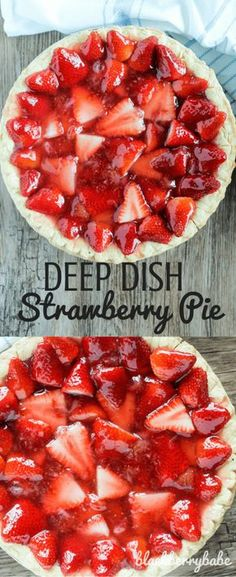 My Dads favorite pie! Deep Dish Strawberry Pie using fresh strawberries and ginger ale in the gelatin. Amazing flavor! Recipe from www.blackberrybabe.com