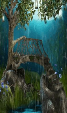 Download Animated 240x400 «Fantasy bridge» Cell Phone Wallpaper. Category: Fantasy
