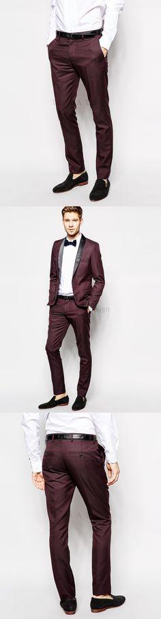 Hot Selling 2017 Men's Business Suits Dark Burgundy Men Wedding Suits Groomsmen/Best Man Tuxedos With Pants (Coat+Pants+Tie)