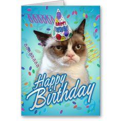 誕生日おめでとうの気難しい猫 グリーティングカード