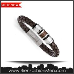 Mens Bold Bracelets | Mens Bracelets | Mens Bracelet | Mens Jewelry | Mens Accessories | Bracelets on Men | Mens Jewelery | Shop Now ♦ Stainless Steel Polished Brown Leather Bracelet - 8.25 Inch $90.40