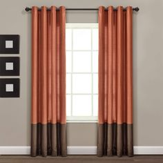 Lush Decor Prima Color Block Window Curtains Panel Set for Living, Dining Room, Bedroom (Pair), 54 x 84-inch, inch inch, Brown/Rust