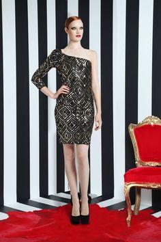 kristiana one sleeve sequin dress | Alice + Olivia | Dresses