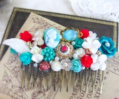 Wedding Hair Comb Aqua Turquoise Red Cyan Teal White by Jewelsalem, $38.00