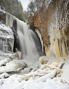 Pictured Rocks is always awesome. --Winter at Miners Falls Pictured Rocks National Lakeshore by Michigan Nut, MIchigan Upper Peninsula Michigan Travel, State Of Michigan, Lake Michigan, Northern Michigan, Michigan Waterfalls, Pictured Rocks National Lakeshore, Picture Rocks, Upper Peninsula, Fall Pictures