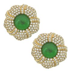 Ciner Pave Emerald Flower Earrings