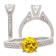Elite Collection created round yellow sapphire engagement ring with natural diamonds Alexandrite Engagement Ring, Gemstone Engagement Rings, Designer Engagement Rings, White Gold Rings, White Gold Diamonds, Natural Diamonds, Yellow Sapphire Rings, Emerald Rings, Ruby Rings