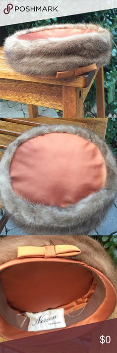 •VTG• Mink Trimmed Hat Mink Trimmed Hat Designer Noreen Fashion. Approx 50's 60's era. Excellent Condition. Rust colored satin like fabric. Bow Detail. Beautiful! Ask for measurements. Estate Treasure! Fur in fabulous condition. The only flaw is the label needs to be stitched in a couple places. Some shredding on label. Hidden inside hat. ✨💌✨ Vintage Accessories Hats