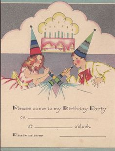 Vintage Single Layer Greeting Card Art Deco Birthday Party Invitation  I940 | eBay