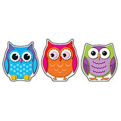 Colorful owl doodads for bulletin boards and whatnot. Idea - teach the kiddies about how shapes make up an item. These fellas are just a bunch of circles and half-ovals and what whatnot. I smell a possible lesson plan maybe possibly? Ermm... either way, owls are amazing. :3