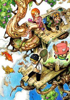 Nami Usopp Sanji Chopper -one piece One Piece Anime, Nami One Piece, Manga Anime, Anime Art, Triumph Motorcycles, Chopper, Motocross, Otaku, One Piece Chapter