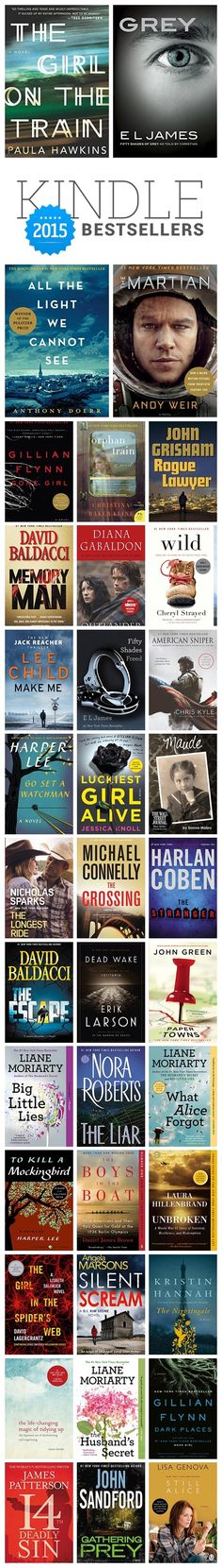 Paula Hawkins, Harper Lee, Anthony Doerr, Andy Weir, E.L. James ⇢ #Kindle #bestsellers 2015