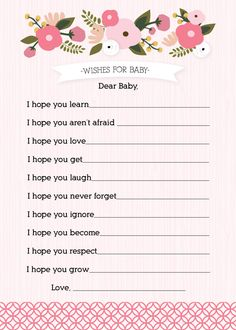 Girl Baby Shower Activity: Wishes for Baby. $10.00, via Etsy.